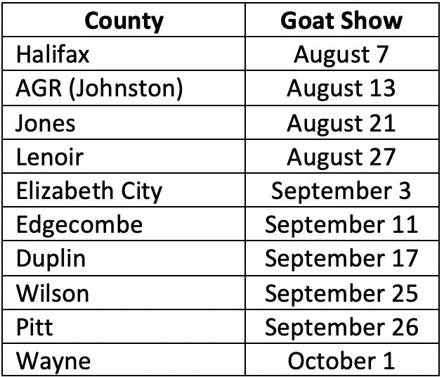 Goat Show Schedule